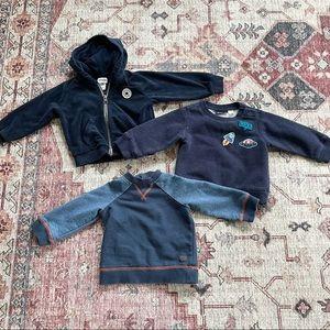 Baby boy lot of 3 sweatshirts and jacket